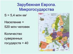 Зарубежная Европа. Микрогосударства