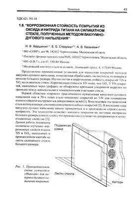 Вершинин Н.Ф., Страумал Б.Б., Казакевич А.В. Коррозионная стойкость покрытий из оксида и нитрида титана на силикатном стекле, полученных методом вакуумно - дугового напыления