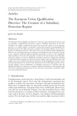McAdam J. The European Union Qualification Directive: The Creation of a Subsidiary Protection Regime