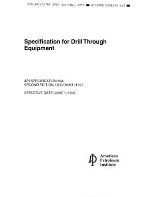 API Spec 16A-1997 Specification for Drill Through Equipment