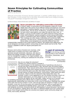 Etienne Wenger, et al. Seven Principles for Cultivating Communities of Practice