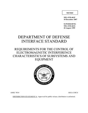 MIL-STD-461F, 10 December 2007. Requirements for the control of electromagnetic interference characteristics of subsistems and equipment