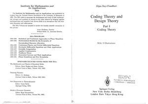 Ray-Chaudhuri D. Coding Theory and Design Theory. Part I