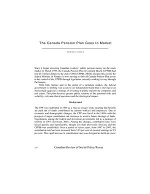 Cooke M. The Canada Pension Plan Goes to Market