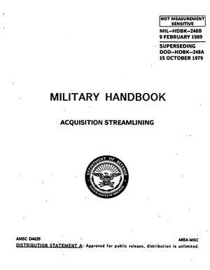 MIL-HDBK-248B Military Handbook. Acquisition streamlining. 9 February 1989