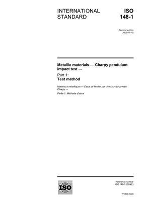 ISO 148 (ENGL). Материалы металлические. Испытание на удар по Шарпи на маятниковом копре