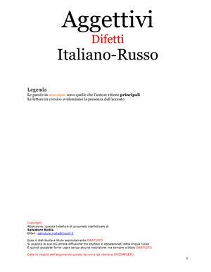 Aggettivi. Difetti. Italiano-Russo (tabella). Прилагательные. Дефекты (таблица)