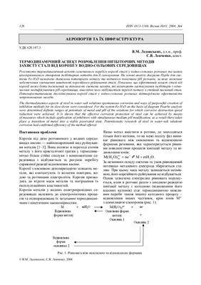 Ледовских В.М., Левченко С.В. Термодинамічний аспект розроблення інгібіторних методів захисту сталі від корозіїї у водно-сольових середовищах