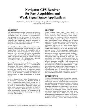 Winternitz Luke, Moreau Michael, Gregory J. Boegner, Jr. Navigator GPS Receiver for Fast Acquisition and Weak Signal Space Applications
